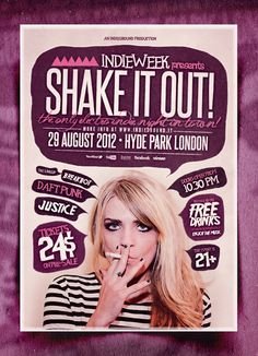 """Shake it Out"" – This flyer was designed to promote an Indie Rock / Electro / Dubstep / Alternative / Pop / Urban music event, such as a gig, concert, festival, party or weekly event in a music club and other kind of special evenings. This poster can also be used for a band's new album promotion and other advertising purposes."