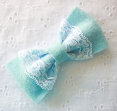 I LOVE this Blue Felt Bow with Lace! I'm buying one for Siena now!