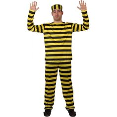 Notorious prisoner costume for men: prisoner costume with black and yellow stripes for men. Elastic-waist trousers to fit many sizes. A top with long-sleeves. Buy Costumes, Adult Costumes, Yellow Stripes, Black N Yellow, Fancy Dress, Dress Up, Elastic Waist, Pajama Pants, Trousers