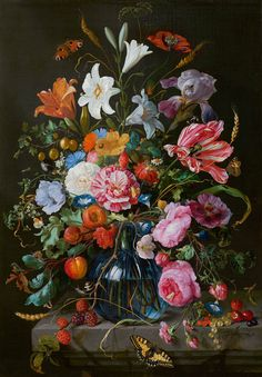Jan Davidsz de Heem, Vase of Flowers, c. 1670. On view in the Mauritshuis, The Hague.
