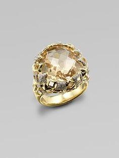 David Yurman - Diamond Accented Champagne Citrine 18K Gold Ring