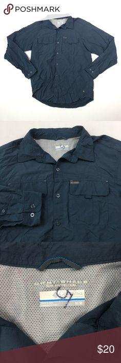 Columbia Mens Navy Button Up Shirt M B0807