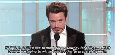 award speech~ I love Robert Downey Jr.