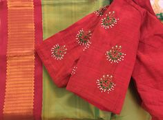 By Spatika Sarees (Whatsapp on Wedding Saree Blouse Designs, Saree Blouse Neck Designs, Hand Work Blouse Design, Simple Blouse Designs, Maggam Work Designs, Designer Blouse Patterns, Embroidery Stitches, Hand Embroidery, Chiffon Blouses