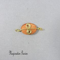 Connecteur cabochon soie orange et doré Arabesque, Orange, Belly Button Rings, Brooch, Stud Earrings, Cabochons, Montage, Boutique, Jewelry