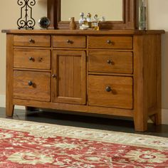 Attic Heirlooms Natural Oak Door Dresser With Mirror