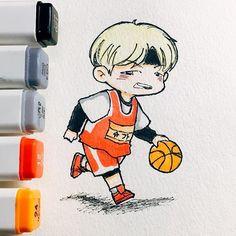 Fanart D-8, Suga playing basketball  Crédito a quien corresponda  #Suga  #BTS #Bangtanboys