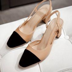 2016 diseñador famoso de mujer sandalias de tacón de color mezclado grueso punta estrecha zapatos mujer recorte de lujo beige / negro sandalias de gladiador en Sandalias de las mujeres de Zapatos en AliExpress.com | Alibaba Group