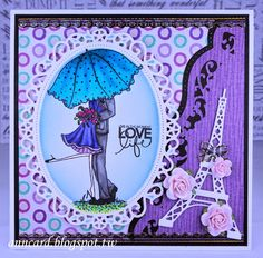 Ann Chuan: Ann's Cardmaking Garden – LIVE IN THE MOMENT LOVE Life - LTSCB#47 Love Is In The Air! - 2/2/15 (Stampabella: Emily and Ryan Under the Umbrella. Dies: Marianne: Eiffel Tower; Spellbinders: Floral Ovals/ Borderabilities A2 Bracket Borders.) (Pin#1: Anniversary/ Wedding. Pin+: Valentines-Dies...)