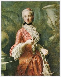 """Pietro Antonio Rotari  (Italian, 1707-1762)  «Portrait of Marie Kunigunde of Saxony (1740-1826), Abbess of Thorn and Essen, daughter of Augustus III of Poland» 1755  Another """"knotting Lady"""" with lots of wonderful dress detail."""