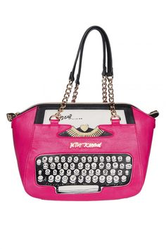 54451d0425 Kitschy retro typewriter hangbag by Betsey Johnson   Pinup Girl Clothing
