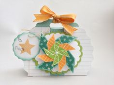 Courtney Lane Designs: Pinwheel gift bag made using the Artiste and May stamp of the month!