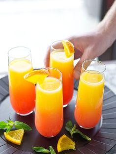 Sunrise Mimosas Tequila Sunrise Mimosa - easy way to jazz up Easter brunch!Tequila Sunrise Mimosa - easy way to jazz up Easter brunch! Brunch Drinks, Brunch Party, Party Drinks, Cocktail Drinks, Fun Drinks, Yummy Drinks, Cocktail Recipes, Alcoholic Drinks, Drinks With Champagne