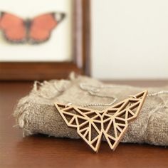Origami butterfly necklace Laser cut from birch wood Geometric pendant Gift boxed