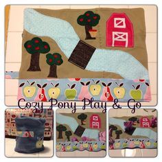 Girl version of the Cozy Car Garage. My Little Pony apple barn play mat. Applejack themed for my daughter Maddy.