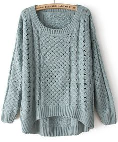 Come on fall and winter. Green Round Neck Long Sleeve Hollow Sweater - Sheinside.com