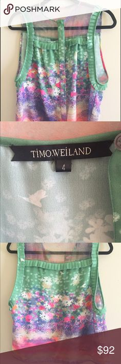 Timo Weiland Floral Tank Timo Weiland Beautiful bright floral sleeveless tank with sheer illusion collar, button closure and pleated details. In excellent condition, rare find. 100% polyester machine washable. Size 4, runs large, arm holes are long. Timo Weiland Tops Blouses