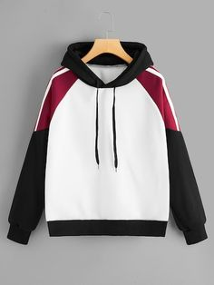 Shop Cut And Sew Panel Drawstring Hoodie online. SHEIN offers Cut And Sew Panel Drawstring Hoodie & more to fit your fashionable needs. Unique Hoodies, Cool Hoodies, Men's Hoodies, Hoodies For Girls, Teen Hoodies, Hoodie Outfit, Sweater Hoodie, Hoodie Sweatshirts, Hoody
