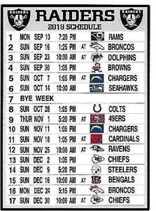 NEW, THE OAKLAND RAIDERS 2018 NFL SCHEDULE FRIDGE MAGNET (PACIFIC TIME ZONE) Raiders Schedule, Raiders Baby, Time Zones, Oakland Raiders, Magnets, Nfl Football