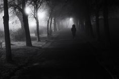 Foggy night - A foggy night. A woman walks alone through the alley lighted by street lanterns. Black and white street photography. #street #streetphotography #photography #blackandwhite #Badfrankenhausen #fog
