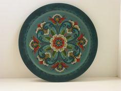 Norwegian Folk Art Rosmaling Blue Round Platter by CeeBeeVee, $94.95