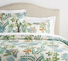 Victoria Botanical Print Duvet Cover & Sham - Fern & Butterfly Print on Neutral Background - Spring Bedding