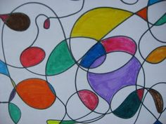 14. Fill in abstract art bubbles on huge construction paper.