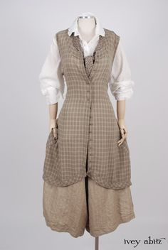 Ivey Abitz 2017 Spring Look - Truitt Shirt in Dove Striped Voile - Truitt Frock in Flaxseed Plaid Weave - Holkham Hall Necktie in Flaxseed Leafy Silk Linen - Montague Trousers in Sandy Pinstriped Linen, High Water Length Mode Alternative, Alternative Fashion, Cute Dress Outfits, Cute Dresses, Vintage Outfits, Vintage Fashion, Bespoke Clothing, Techniques Couture, Mode Boho