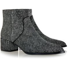 Senso Isla Silver Stardust Glitter Ankle Boot (395 RON) ❤ liked on Polyvore featuring shoes, boots, ankle booties, booties, обувь, silver, block heel ankle boots, silver glitter boots, pointy toe booties and pointed toe booties