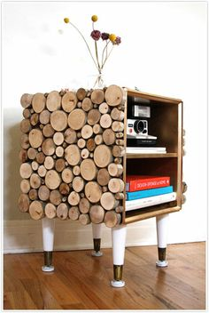 sliced wood DIY side table would be even better with natural limbs for legs...