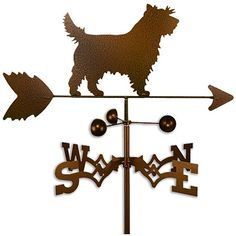 This handmade dog-themed weathervane is the perfect addition to any dog lover's home or garden. Made from a durable 14-gauge steel, the weathervane depicts a Cairn terrier and features a copper-colored paint that has a weather-resistant finish.