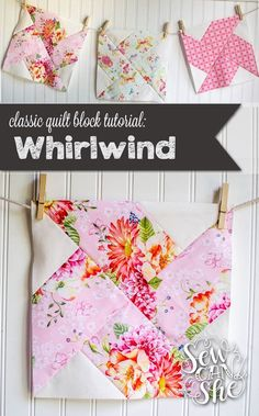 the Whirlwind Quilt Block {t.- Classic Blocks: Fresh Fabric… the Whirlwind Quilt Block {tutorial} — SewCanShe Quilting Tutorials, Quilting Projects, Quilting Designs, Sewing Tutorials, Jellyroll Quilts, Easy Quilts, Sewing Patterns Free, Free Sewing, Easy Quilt Patterns Free