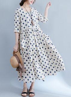Algodão Bolinhas Manga 1043953/1043953 Longuete Vintage Vestidos de (1043953) @ floryday.com