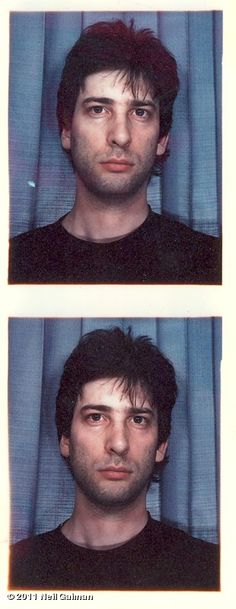 Neil Gaiman's visa photo from some 15 years ago.