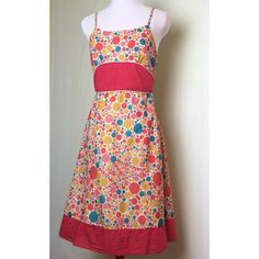 Lavand dotty dress Amazing light and airy summer dress with colorful multi sized dots and splotches. Red waist and hem bands. Fully lined. side zip. Adjustable straps. Like new. Anthropologie Dresses