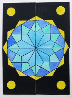 quattro ACEO componibili dipinti a mano. Modular geometric ACEO. Click the image to know more.... #aceo #geometry #cards