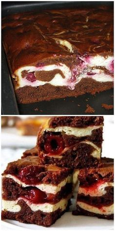 Brownie with cottage cheese and cherries. Bombic flavor- Брауни с творогом и вишней. Бомбический вку… Brownie with cottage cheese and cherries. Pastry Recipes, Pie Recipes, Baking Recipes, Amazing Food Decoration, Russian Recipes, Desert Recipes, Cheesecake Recipes, Cupcake Cakes, Bakery
