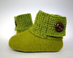 Baby booties / kids slippers / house shoes - Felted wool with knitted tops and buttons