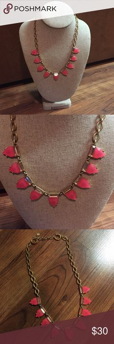 Eye Candy Hot Pink Triangle Necklace EXCELLENT CONDITION - with box!  Maybe worn 1x - brushed gold metal hardware with a pop of hot pink! Stella & Dot Jewelry Necklaces