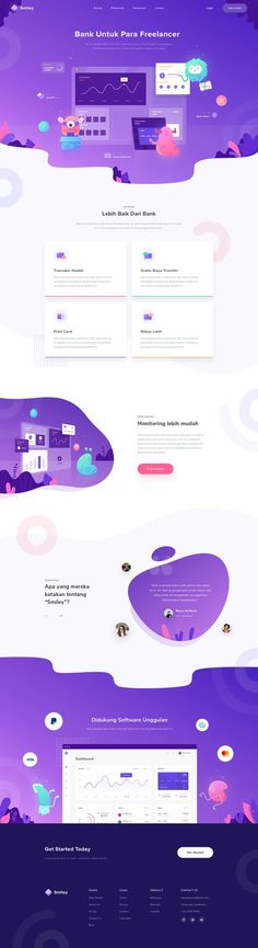 Financial Landing Page modern design concept and colorful UI