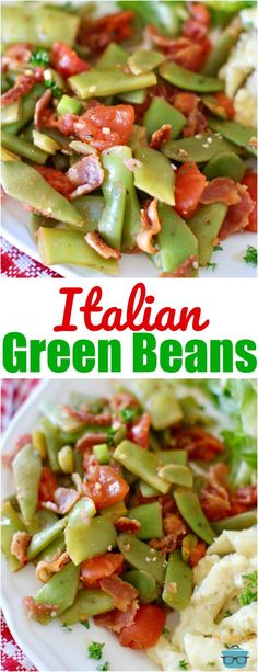 Italian green beans Italian Green Beans recipe from The Country Cook served with Michael Angelo's Three Cheese Baked Ziti makes for a super easy, delicious weeknight meal! Side Recipes, Vegetable Recipes, Chicken Recipes, Italian Green Beans, Italian Side Dishes, Italian Vegetables, Green Bean Recipes, Cooking Recipes, Healthy Recipes