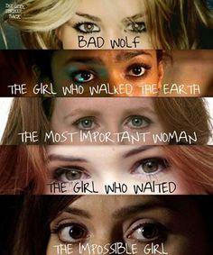 The Doctor's Companions: Rose Tyler, Martha Jones, Donna Noble, Amy Pond, Clara Oswald.