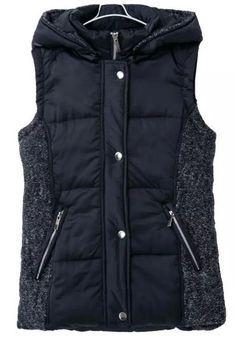 Navy Blue Plain Pockets Hooded Vest