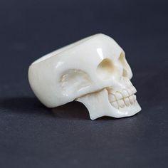 Hand Carved Skull Ring Skull jewelry Skull Rings by BoneAndSkull