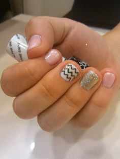 Glitter and Chevron nail art #20loungescottsdale #nailsbyashley