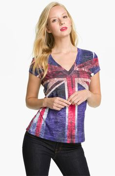 WANT!! Maybe they have one at the outlet...  - XCVI Wearables 'Union Jack' V-Neck Tee   Nordstrom