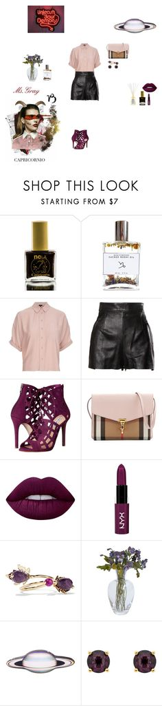 """""""The Devil Capricorn"""" by fmsgray ❤ liked on Polyvore featuring ncLA, Bodhi, Topshop, Moschino, Steve Madden, Burberry, Lime Crime, NYX, Rosantica and GALA"""