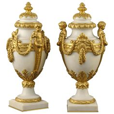 Pair of Urns in the Louis XVI Manner, carved with white Carrera marble. Signed by Ferdinand Barbedienne, circa 1880
