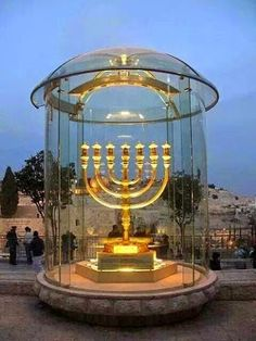 Beautiful Golden Menorah in Jerusalem. This is a reconstruction of the Menorah of the Temple, created by the Temple Institute.