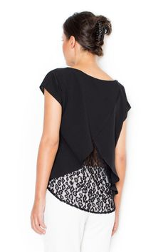Fashion Blouse in Black with Short Sleeves & Lace Back
